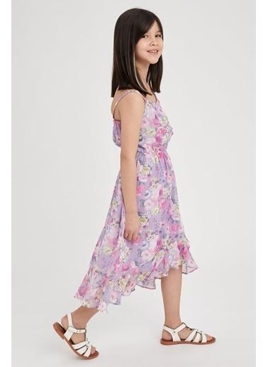 DeFacto Kız Çocuk Çiçek Desenli Askılı Elbise Mor